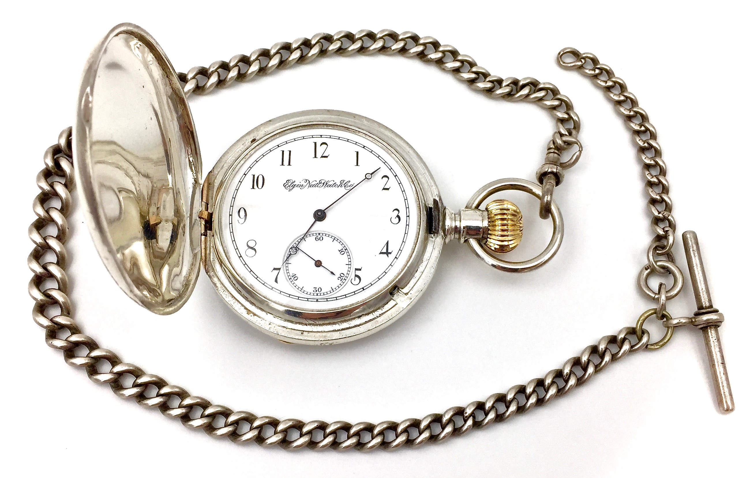 7261114df Home / Accessories / Pocket Watch Chains / Sterling Silver T-Bar Pocket  Watch Chain, c.1908
